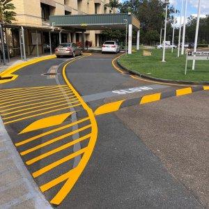 car drop off line markings