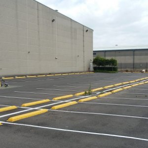 Car Park Line Marking with Wheel Stoppers