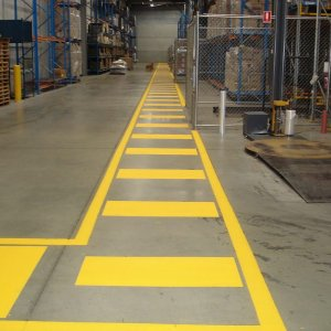 Industrial Yellow Striped Line Markings