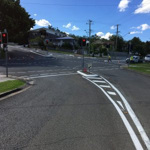 Intersection road line markings