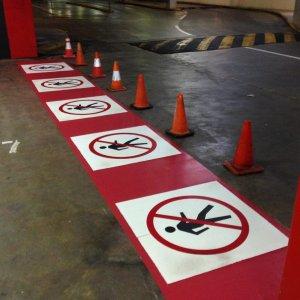 No Pedestrian Sign - Safety Line Marking