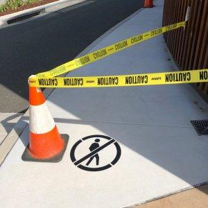 Pedestrian not allowed road line marking