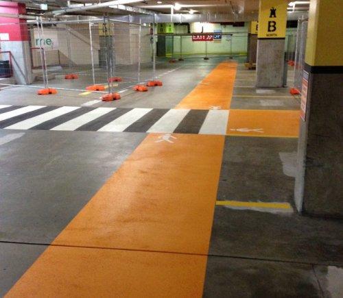 Pedestrian walkways in underground parking bay