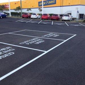 Standard Stenciled Car park line markings