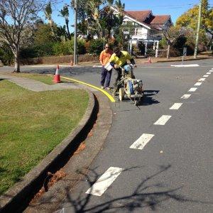 Yellow Road marking line