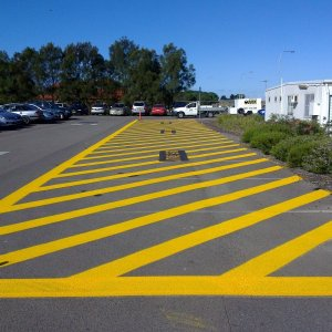 Yellow Striped Car Park Line Marks